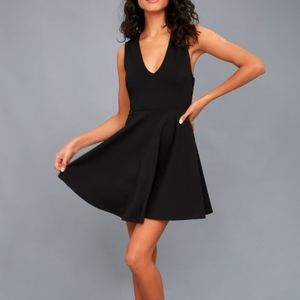 Lulu's Black Backless Skater Dress